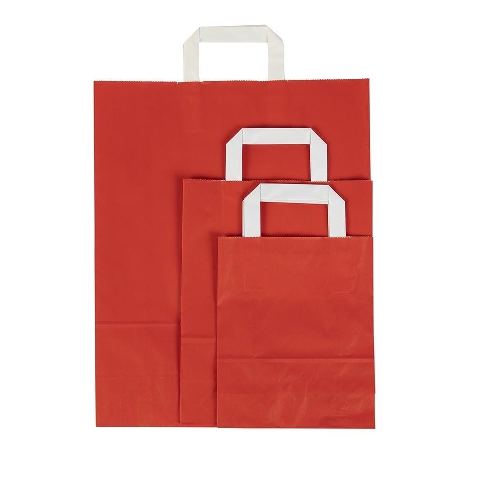 Kraftpapier-Tragetaschen S, 18 x 8 x 22 cm, Trigon rot