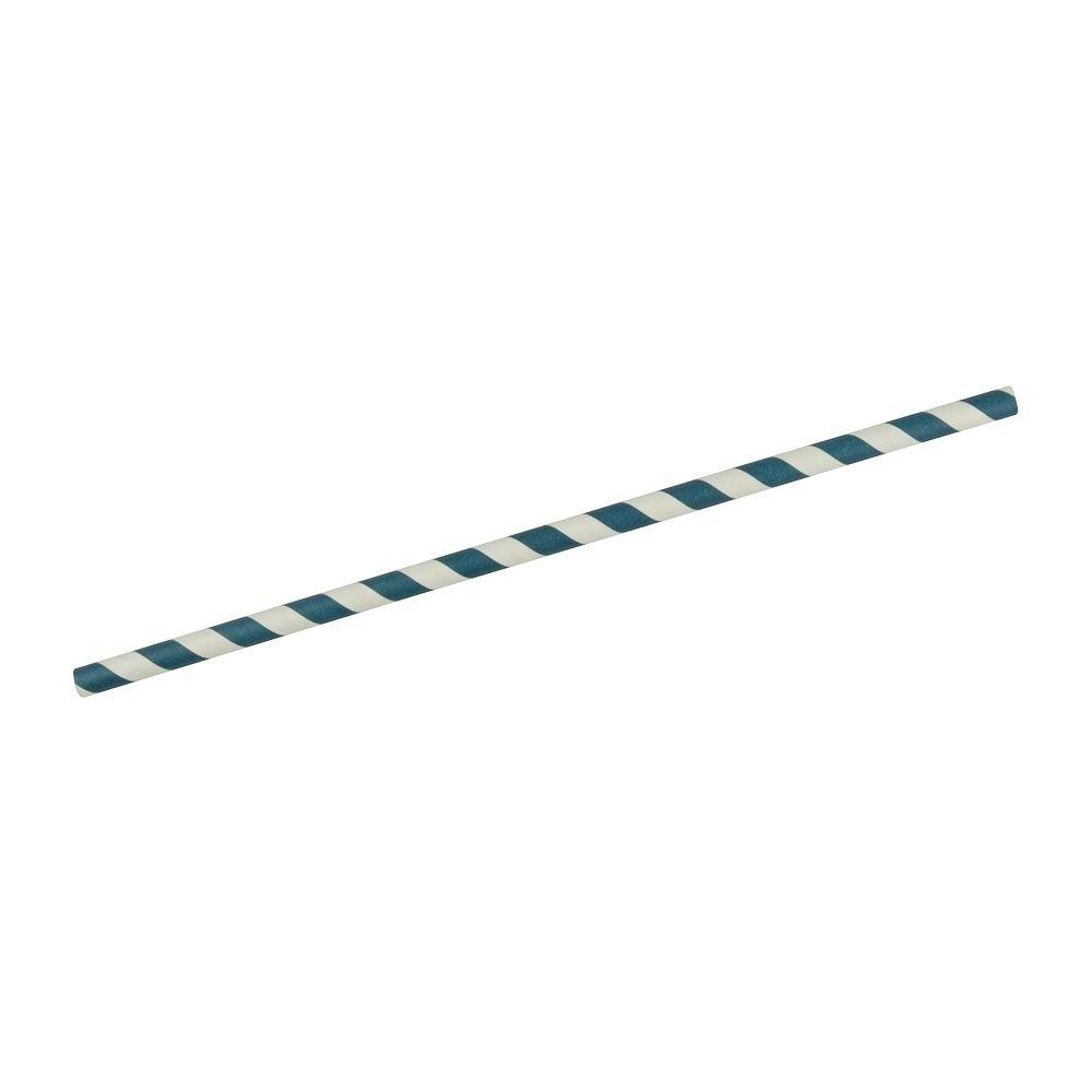 Papier-Jumbo-Trinkhalme 25 cm, Ø 0,8 cm, blau gestreift