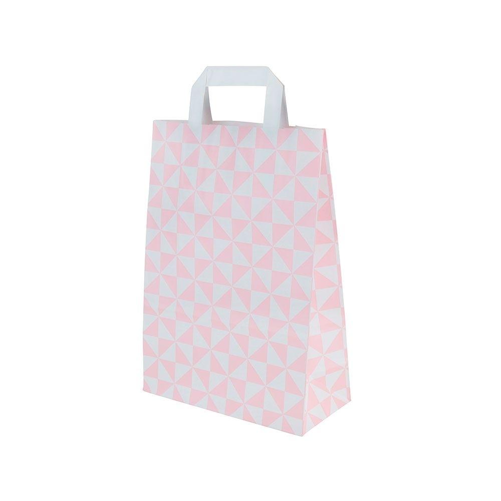 Kraftpapier-Tragetaschen M, 22 x 10 x 31 cm, Trigon rosa
