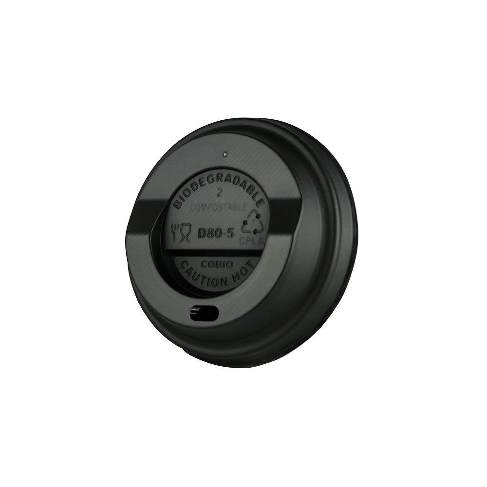 CPLA-Deckel Ø 80 mm, schwarz, Trinköffnung