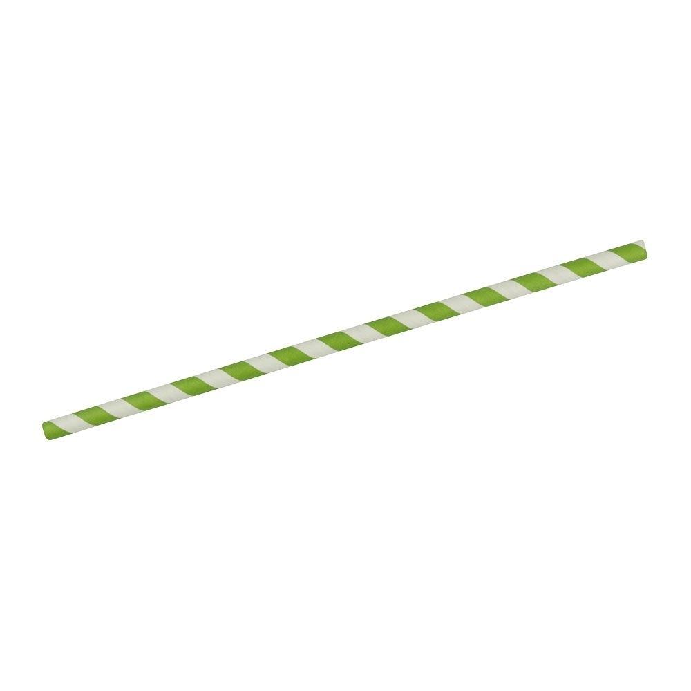 Papier-Jumbo-Trinkhalme 25 cm, Ø 0,8 cm, grün gestreift