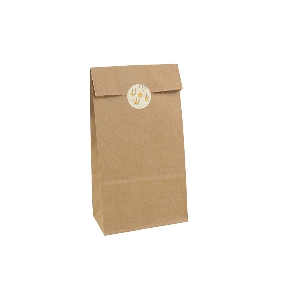 Kraftpapier-Geschenktüten 11 x 6 x 23,5 cm, braun, inkl. 72 Graspapier-Aufkleber